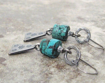 turquoise dangle earrings, tribal earrings, southwest earrings, boho earrings, sterling and fine silver