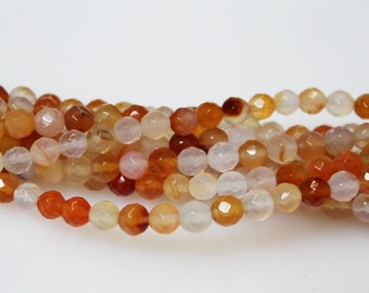 Orange/Red Agate 6 mm faceted Beads