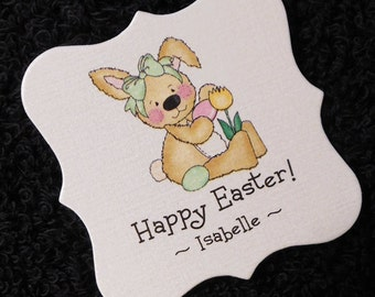 20 Personalized Easter Tags - Candy Tags - Bag Tags - Party Favor Tags - Bunny With Green Bow Holding A Tulip - 2 X 2 Square Tags