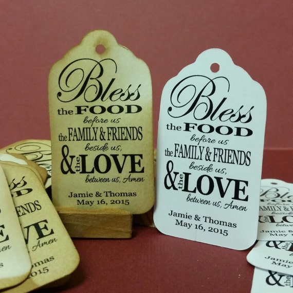 Meal Blessing MEDIUM Personalized Wedding Favor Tag Choose