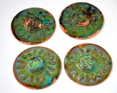 "Qty 4 Patina - Comes the Sun 1.25"" Sun Medallion in Copper Free US Shipping"