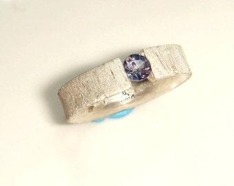 Sterling Silver Tension Set Sapphire Ring