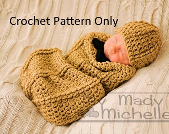 Crochet Pattern for Infant Peanut Cocoon 0-3 months with hat and bow Adorable Costume
