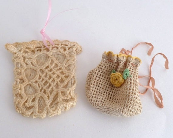 Crochet Round Pouch : Crochet pouches - Set of 2 little coin purses - needlecraft items
