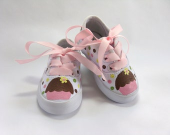 Girl's Cupcake Sneakers, Birthday Party Shoes, Cupcake Theme Outfit, Hand Painted for Babies and Toddlers