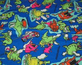 vintage 80s cotton fabric, featuring kitsch beach dragon print by calhoun sportswear, 1 yard, 8 inches EXTRA WIDE