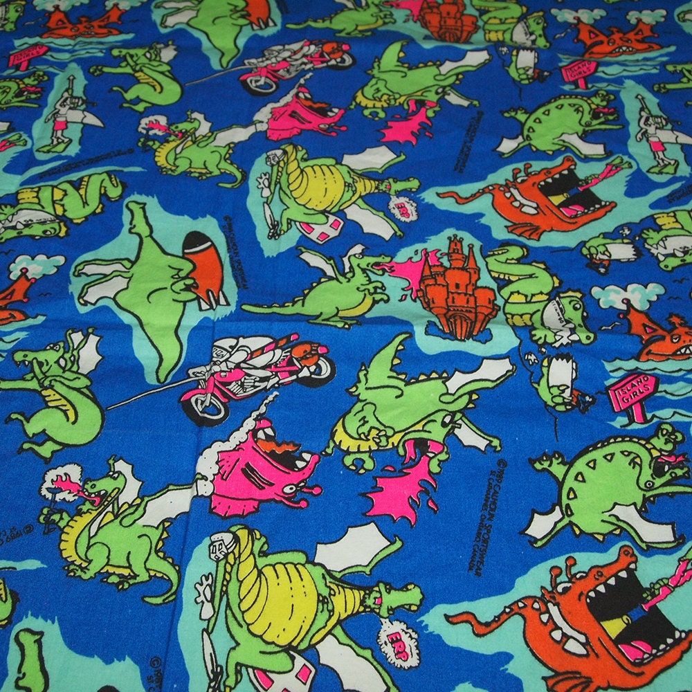 Vintage 80s cotton fabric featuring kitsch beach dragon for Dragon fabric kids