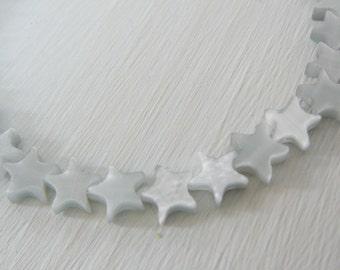 Oyster Grey Catseye Bead, 6mm Stars Patriotic mini strand jewelry making supplies