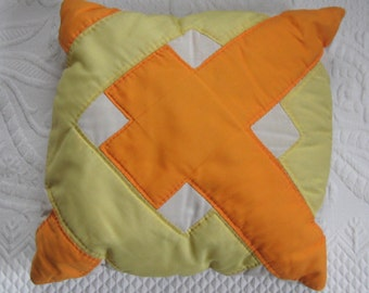 retro quilted pillow . Art Retro Pillow . Hand Quilted Pillow . Orange X Pillow