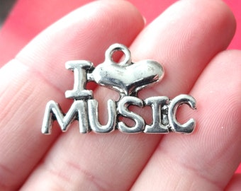 "5  I ""Heart"" MUSIC Charms 27x16mm ITEM:N24"