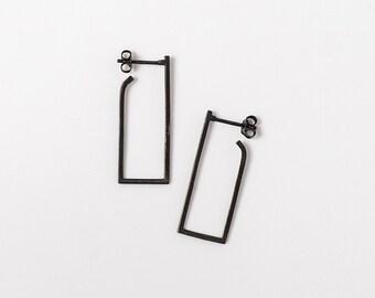 SALE 50% OFF Oxidized Silver Earrings, Rectangle Hoop Earrings, Geometric Black Earrings