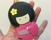 Big size - Sakura the Geisha Doll cowhide leather charm ( Fuschia )