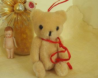 Vintage Christmas Ornament Mohair Bear Mini