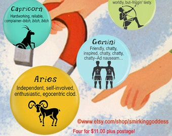 Funny Birthday Gift, Zodiac Magnet Set, Funny Zodiac Magnets, Four  Funny Zodiac, Horoscope magnets