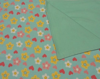 Blue Hearts and Flowers  Blanket and Burp Cloth Set