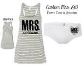 Custom MRS TANK & SHORTIES set. Bride shirt. Bride tank. Mrs shirt. Bride Underwear. Honeymoon tank. cmst
