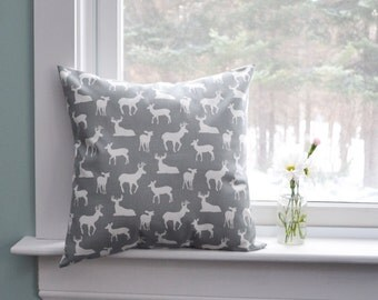 Pillow Cover Decorative Pillows Deer Pillows Gray Pillow Cabin Decor Cushion Covers