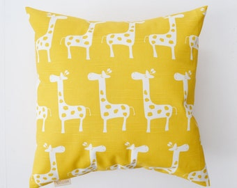 Decorative Pillow Cover Nursery Pillow Yellow Pillow Giraffe Pillow Cushion cover