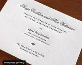 Sonja Letterpress or Digital Wedding Invitations - Set of 100
