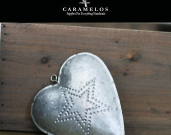 Puffy Galvanized Metal Tin Heart with Punched Center Star Ornament