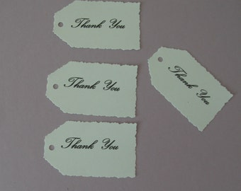 "Set of 50 x  deckle edge tags 2.1/4"". x1.1/4"" gifts,wedding,favors,baby shower,party"