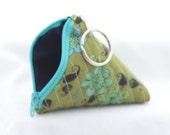 Triangle Pouch- blue and green flowers