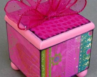 Pink Fiesta Lift Top Trinket Decorative Box