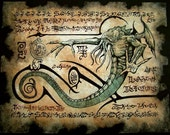 Cthulhu larp Rlyeh Text Necronomicon page Scroll Magick occult witch