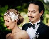 WEDDING  Bridal headband with rhinestones, pearls and crystals - hair wrap Swarovski - NINA - SALE