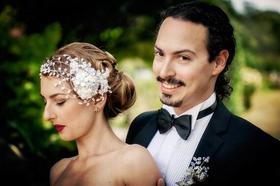 Black Friday Sale - WEDDING  Bridal headband with rhinestones, pearls and crystals - hair wrap SWAROVSKI  - NINA