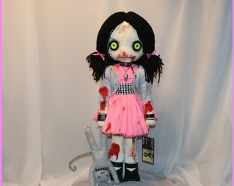 OOAK Hand Stitched Zombie Rag Doll Creepy Gothic Horror Folk Art By Jodi Cain Tattered Rags