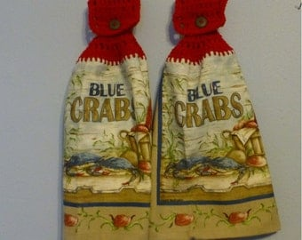 Hanging Kitchen Towels ,Crochet Button Top, Matching Pair,Hostess Gift, Hanging Kitchen Towel Set,Dish Cloths, Blue Crabs