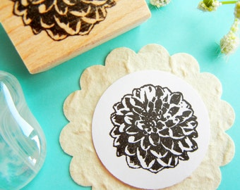 Dahlia Flower Rubber Stamp  - Handmade by BlossomStamps