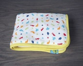 Waterproof baby change pad sea animals cream organic flannel Travel size