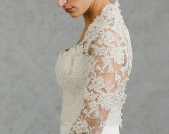 Long Sleeve Wedding Gown Topper - Wedding Gown Topper - Long Sleeve Bolero - Catherine