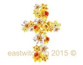 Watercolor Daffodil painting, Daffodil print, Easter gifts, cross, easter wreath, ready to frame, 8x10 print