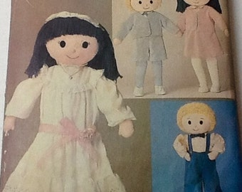 Butterick 3583 Girl and Boy Craft Pattern Soft Sculptured Doll Pattern Vintage