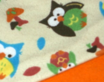 Flannel Orange Owls Baby Blanket