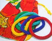 Set of 5 thin bead crochet bangles assorted colors FREE SHIPPING