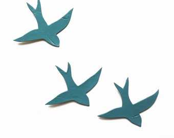 Ceramic wall sculpture swallows We three together Blue gray green birds Modern porcelain wall art Bathroom kitchen living room art Sea spray
