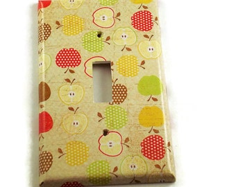 Light Switch Cover  Wall Decor Switch Plate Switchplate Single Switch Plate in  An Apple A Day (081S)