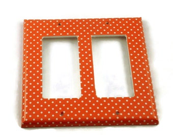 Double Rocker Light Switch Plate Light Switch Cover Wall Decor Kitchen Switchplate in  Tangerine Dot (106DR)