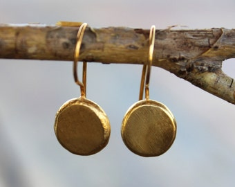 Eco friendly earrings, Organic gold dangle earrings, recycled silver dangle earrings