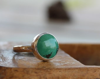 Turquoise Ring, Turquoise stacking ring, Bezel set ring, round turquoise natural stone ring, Gemstone Ring,Gift for her