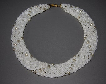 Vintage White Bead Collar Necklace White Glass Beads Glass Pearl Bridal