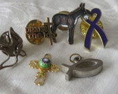 Lot of 6 Religious Enamel and Metal Costume Jewelry Tack Pins & Pendant Charms