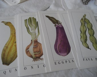 Set of 8 VINTAGE Litho Vegetable Prints Note Cards to Frame or Collage