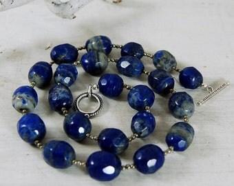 Lapis Lazuli Necklace Pyrite Necklace .925 Sterling Silver