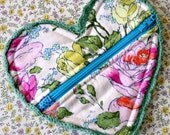 Heart Shaped Bag Zipper Pouch with Crochet Detail Bridesmaid Gift Idea Roses Amy Butler