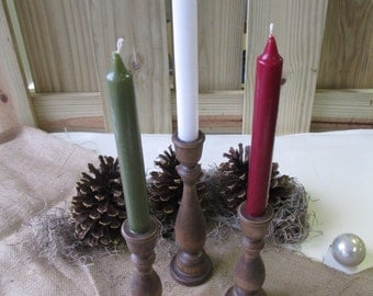 Set of 3 Wooden Candle Holders for Christmas Winter Holiday - Item 1621